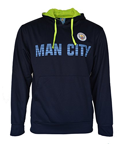 Manchester City Hoodie Zip Up Pullover Fleece Sweatshirt Jacket (Navy, L)