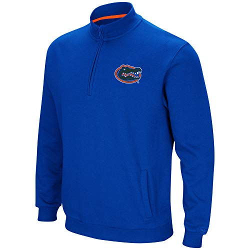 Colosseum NCAA Men's Tailgater Cotton-Poly Fleece 1/4 Zip Pullover-Florida Gators-Blue-Large