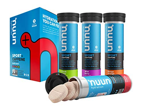 - Nuun Sport + Caffeine: Electrolyte-Rich Sports Drink Tablets with caffeine, Mixed-flavor, Box of 4 Tubes (40 servings), Sports Drink for Replenishment of Essential Electrolytes Lost Through Sweat