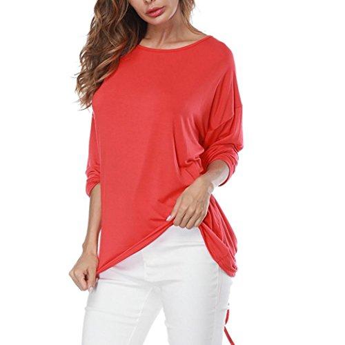 shirt Camicetta T Maniche Top Camicia V Bazhahei Casuale Lunghe Tops Donna collo Rosso ladies Sciolto Ug7qHYf
