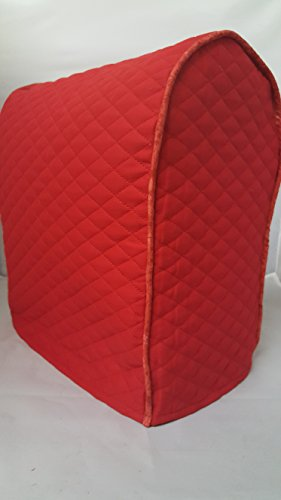 Lift Head Kitchenaid Stand Mixer Cover / Quilted Double Faced Cotton - Red, with contrasting trim (5 Bowl Professional Plus Series)