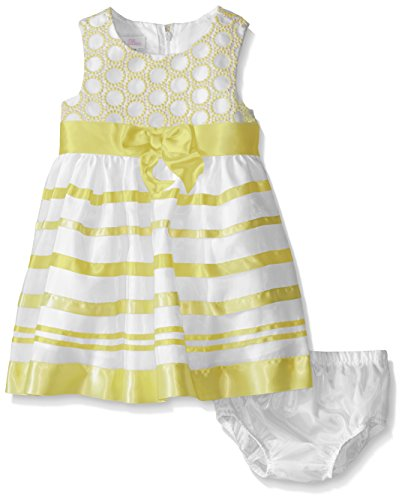 Bonnie Baby Baby Girls' Ribbon Dress and Panty, Yellow, 6-9 Months ()