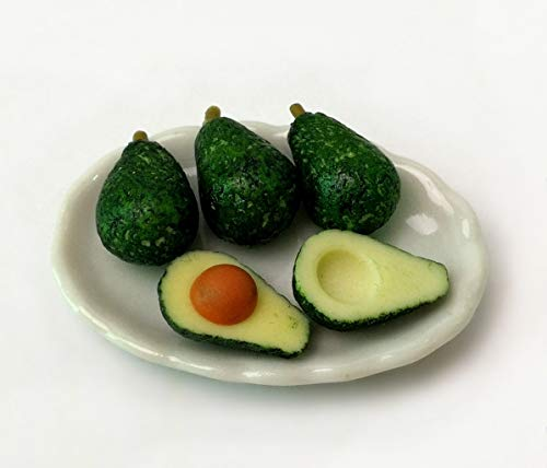 TheBestBuy Dollhouse Miniature Fruit Removable Avocados on Ceramic Plate from TheBestBuy