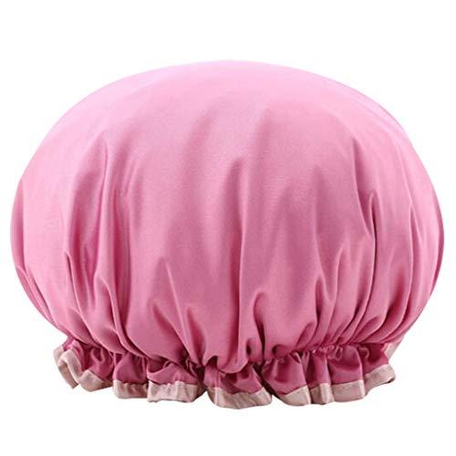 NszzJixo9 Double Waterproof Shower Cap Adult Women's Kitchen Smoke-Proof Cap Bath Cap Soft and Portable Wide Application Double Waterproof Shower Cap (Hot Pink)