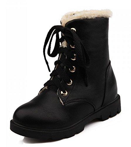 Aisun Womens Warm Comfy Round Toe Dress Platform Lace Up Flat Ankle Martin Snow Boots Booties Shoes Black