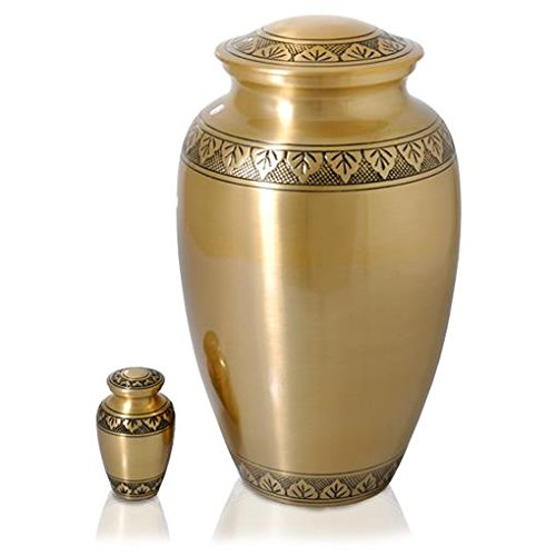 Memorial Gallery 8347A Tranquil Forest Brass Cremation Pet Urn, Full Size