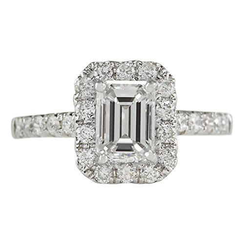 1.61 Carat Natural Diamond (F-G Color, VS1-VS2 Clarity) 14K White Gold Luxury Engagement Ring for Women Exclusively Handcrafted in USA ()