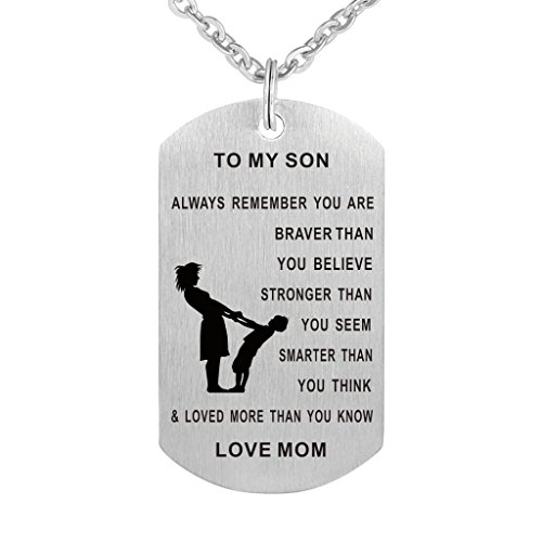 Dad Mom To Son Dog Tag Necklace Military Mens Jewelry Personalized Custom Dogtags Pendant Love Gift (Mom son(braver stronger smarter)) -