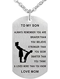 Dad Mom To Son Dog Tag Necklace Military Mens Jewelry...