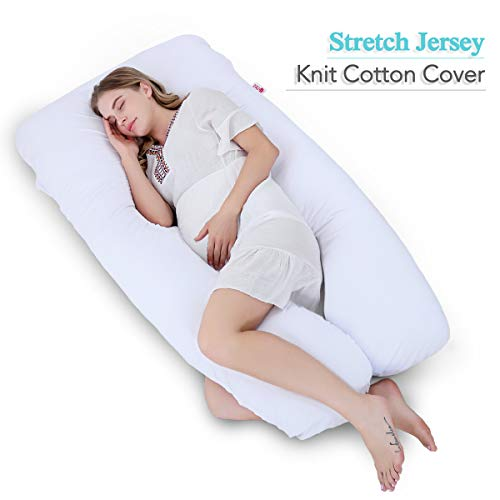 Meiz 60″ Full Pregnancy Pillow – U Shaped – Pregnancy Body Pillow – for Sleeping and Back Support – with Washable Jersey Cover (White)