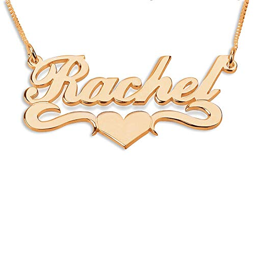 BINKILA Custom Name Necklace Personalized Pendant Made Initial Birthstone Necklace with Box Chain 18K Gold Gifts for Women (A Heart Name for Rose Gold)