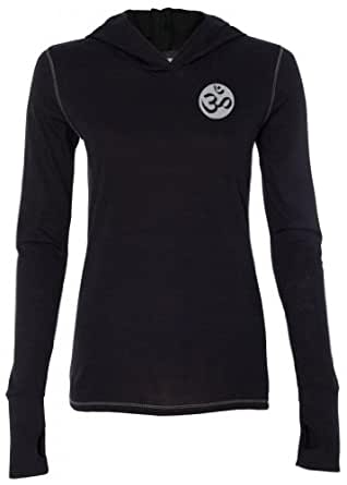Yoga Clothing For You Ladies OM (pocket print) Tri-Blend Hoodie, Small Solid Black