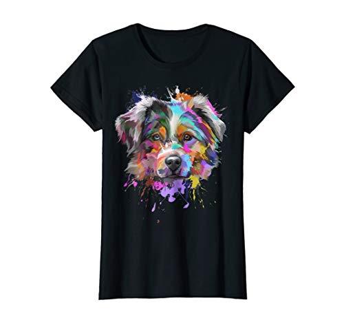Womens Splash Art Australian Shepherd T-Shirt | Aussie Lover Gifts Large Black