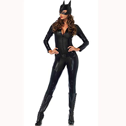 LNNII - Halloween Sexy Sexy Bodysuits Women's Nightclub Ds Stage Costumes Pole Dance One-Piece Paint Leather Stage Costumes Catwoman Motorcycle Uniforms,Chrome,XL]()