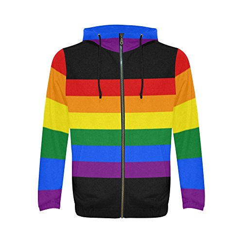 InterestPrint Gay Pride Rainbow Stripes Print Full Zip Hoodie Sweatshirt for Men, Gay Pride Rainbow Flag Stripes, XX-Large