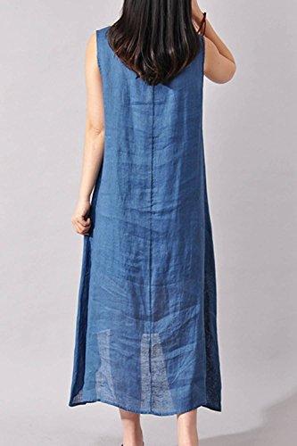 Robe Les D'quipe Femmes Robes Et Coton Blue De Maxi Florales lgantes p70wqp