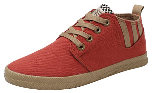 XIAXIAN Canvas High-top Round Toe Lace-up Fashion Women Shoes(8.5 B(M) US, Red)