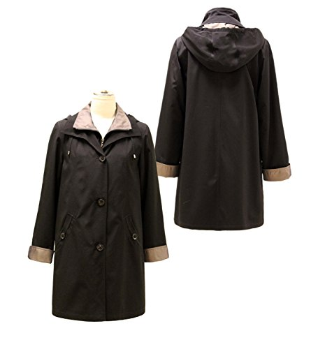 Gallery Women's Plus Size 3/4 a Line Rain Coat, Black, -