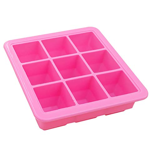 Bravetoshop Ice Cube Trays Hot Silicone Freeze Mold Bar Pudding Jelly Chocolate Maker Mold 9 Ice Cube(Pink)