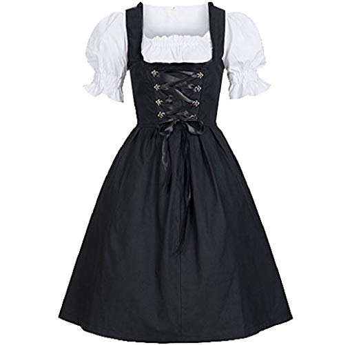 Women's Dress, JHKUNO German Dirndl Dress for Bavarian Beer Girl Oktoberfest Halloween Carnival Maid Fancy Dress Costume Black ()