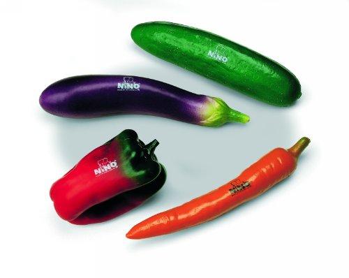 Nino Percussion NINOSET101 Imitation Vegetable Shaker Assortment Set, 4 Pieces (VIDEO)