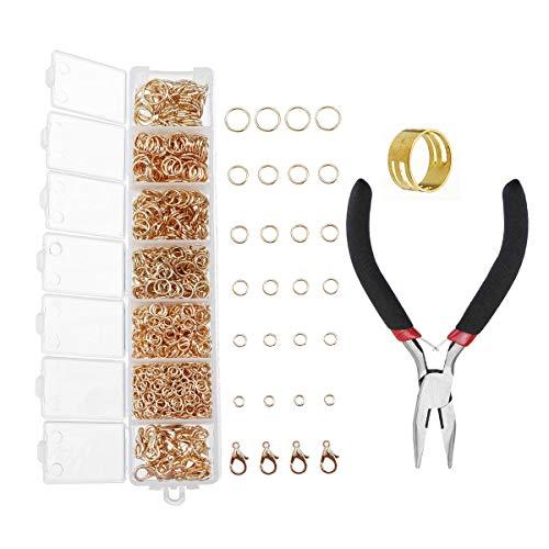 DIY Jewelry Making Findings Kit Metal Jump Rings Lobster Clasp Pliers Tool Set ()
