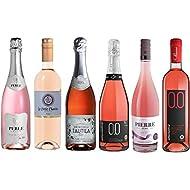 Rose Wine Assortment - Six (6) Non-Alcoholic Wines - Perle Rosé, Zero Rosé, Bollicine Rosato Extra Dry, Rosato Dry, Espumoso Rosado, Le Petit Chavin Rose.