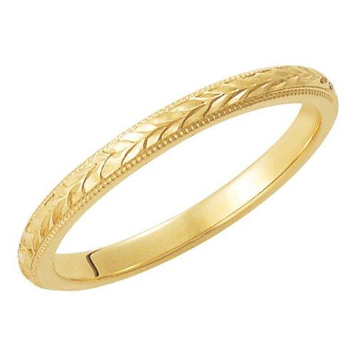 (2mm 14k Yellow Gold Hand Engraved Wheat Pattern Milgrain Flat Edge Band, Size 8)