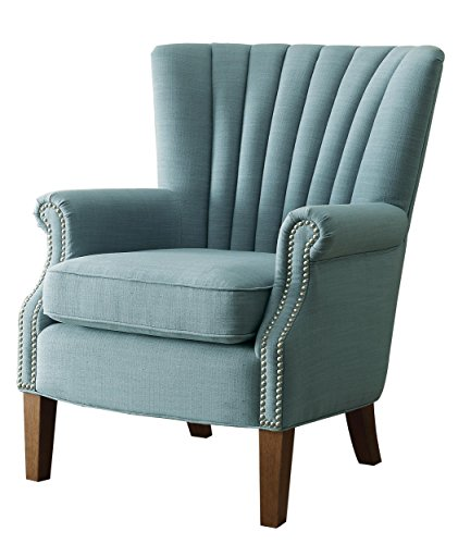 Homelegance Essex Modern Wingback Accent Chair with Nail Heads Flared Arm, Light Blue (Arm Chair Wingback)