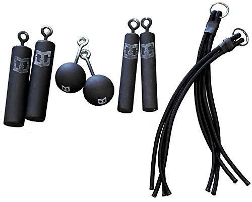 Pro Ninja Grip Kit - 8 Hanging Grips - 2 Each: 3-inch Cannonballs, Piston Grips Bungee Grips. Climbing Bombs as seen on Ninja Warrior (No Hang Straps)