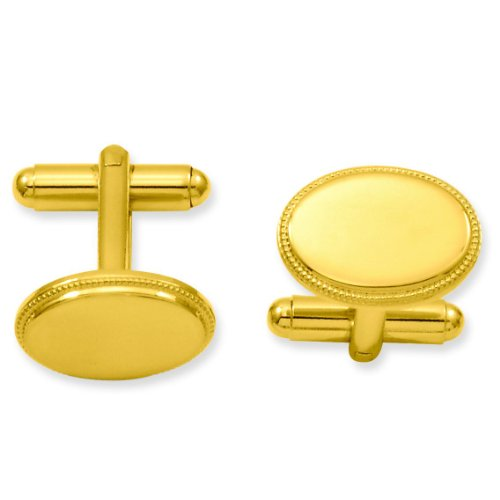 (FindingKing Gold Plated Oval Cuff Links)
