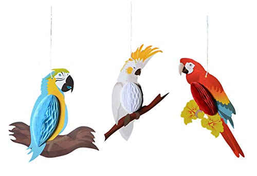 PAPER JAZZ Summer Luau Tiki Hawaiian Beach Tropical Party Parrot Tropical Birds Honeycomb Hanging Decorations Red White Blue(Parrot only) ()