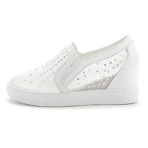 Women's Rhinestone Loafers Flats Shoes Genuine Leather Comfort Moccasins Slip On Fashion Sneakers White