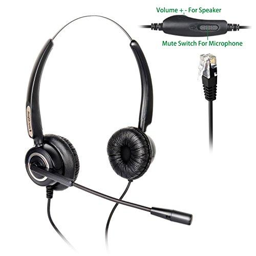 Binaural Headset Headphones + Adjustable Volume + Mute Control ONLY for  Cisco Ip Telephone 7940 7960 7970 7962 7975 7961 7971 7960 8841 9941 M12  M22