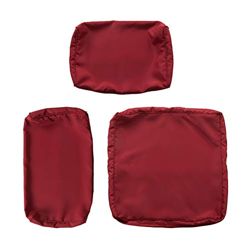 Kinsunny Peach Tree 7 PCs Outdoor Patio Wicker Sofa Chair Washable Cushions Pillow Replacement Covers for Seat and Back, Burgundy (Furniture Replacement Wicker Patio Cushions)