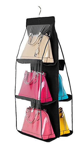 Santwo 6 Pocket Handbag Anti-dust Cover Clear Hanging Closet Bags Organizer Purse Holder Collection Shoes Save Space (black) from Santwo
