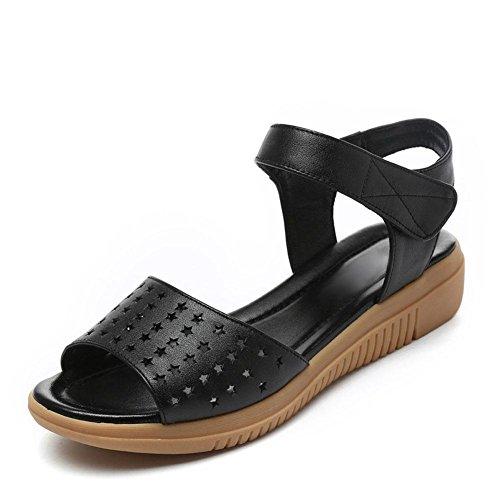 L @ Pente Douce Filles Sandales Femmes Yc D'été Avec Jupe En Cuir Souple Creux De Grande Taille Chaussures Antidérapantes, Noir, 40