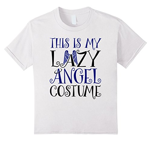 Cute Angel Costumes (Kids Halloween Lazy Angel Costume Funny T-shirt 12 White)