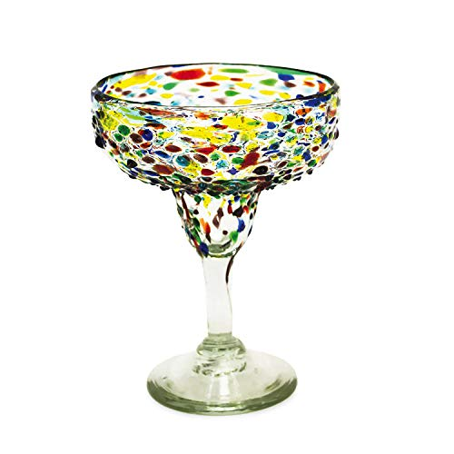 Bambeco 12 OZ Confetti Recycled Margarita Glass - Set of 4 ()