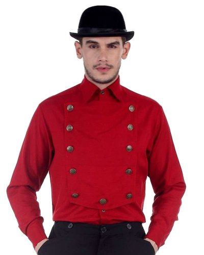 Victorian Era Mens Costumes - Steampunk Airship, Victorian or Western Shirt - Color Red - Size X-Large