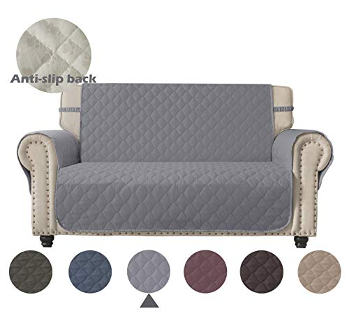 Ameritex Loveseat Cover 100% Waterproof Quilted Furniture Protector Keep Your Couch Stain, Dirt & Scratches-Free (Pattern2:Light Grey, Loveseat)