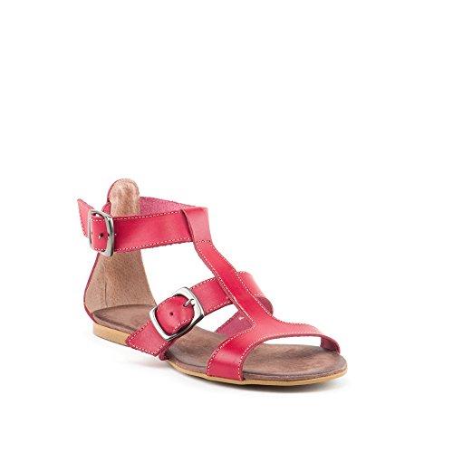 Sandalias de mujer de piel rojo SAN-1130081-2-ROJO