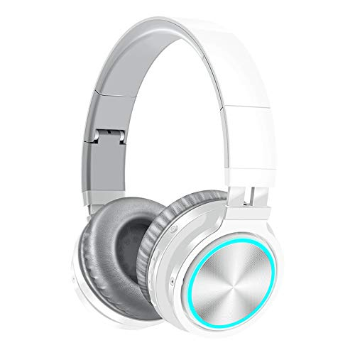 VERORAS Wireless Bluetooth Headphones Over Ear, BT028C LED Light Up Foldable Headset with Microphone and 85dB Volume Limited for PC/TV/iPad/Smartphones/Laptop