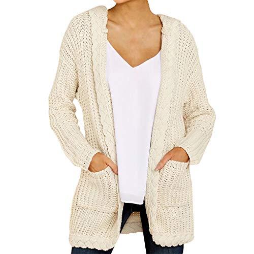 Loosebee◕‿◕ Women Sweater,Women Knitted Cardigan Loose Solid Open Front Long Sleeve Pocket Sweater Coat Tops Blouse Beige