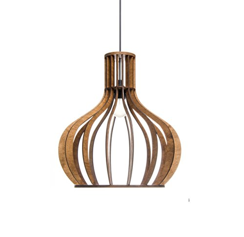 Kitchen pendant lighting for modern, minimalistic, scandinavian, rustic styles - Wood lamp shade for dining room, living room - Brown hanging light fixture original bubble design ALREADY ASSEMBLED