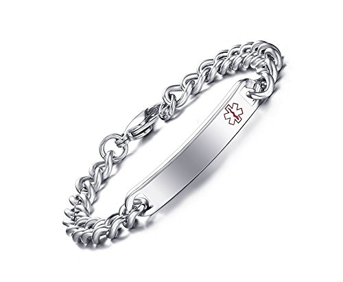 Custom Free Engraving- 8mm High Polished Surgical Steel Chain Medical Alert ID Bracelets for Women and Men (Steel Color/red Symbol,Custom ()