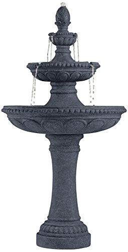 Pineapple 44″ High Grey Stone 3-Tier Outdoor Fountain
