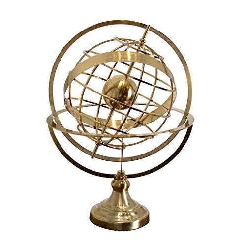 MSchunou Home Creative Crafts, Unique Shape, Rotating Globe Ornaments, Desktop Decoration, TV Cabinet Decorations, Metal Crafts, Metal Globe Ornaments, Handmade Crafts (Size : S) ()