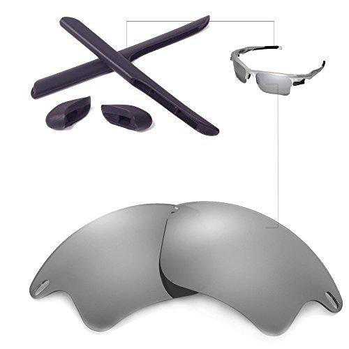 Walleva Replacement Lenses Or Lenses/Rubber for Oakley Fast Jacket XL Sunglasses - 26 Options Available (Titanium Polarized Lenses + Black - Fast Jacket Xl Oakley Lenses