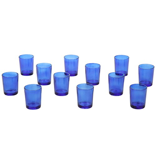 Hosley's Set of 24 Blue Glass Votive / Tea Light Holders. ideal for weddings, party, spa, aromatherapy tealight Gifts, Votive Candle gardens